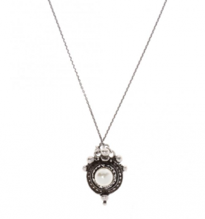 Saint Laurent Faux Pearl Silver Tone Pendant Necklace