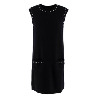 Chanel Faux Pearl Trim Black Wool Blend Knit Sleeveless Dress