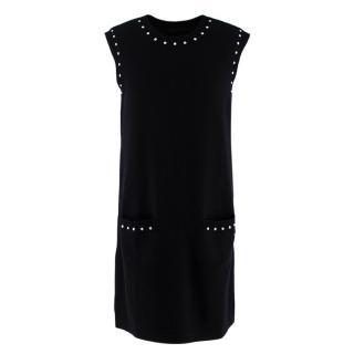 Chanel Faux Pearl Trim Black Wool Blend Knit Sleeveless Dress