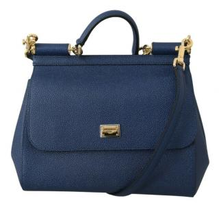 Dolce & Gabbana navy leather sicily bag