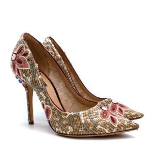 Dolce & Gabbana Gold Sequin Embellished Leather Pumps