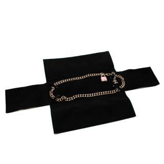 Chanel Gold Chain Pink Tweed Locket CC Belt