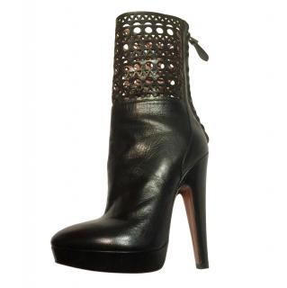 Alaia Black Lasercut trim Ankle Boots