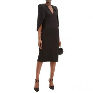 Givenchy Black Cape-back crepe midi dress