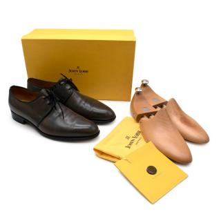 John Lobb Grey Hastings Calfskin Lace-Up Oxfords