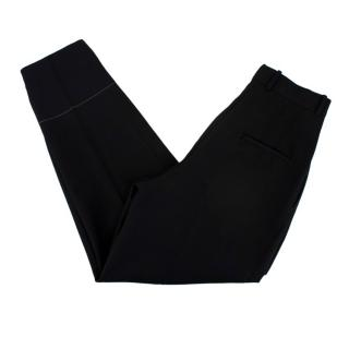 Celine by Phoebe Philo Black Wool & Mohair Blend High-Waisted Trousers
