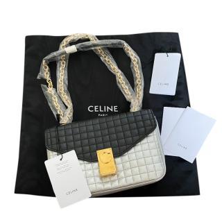 Celine Black & Silver Quilted Medium C Shoulder Bag