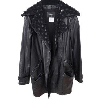 Chanel Black Leather & Tweed Biker Coat