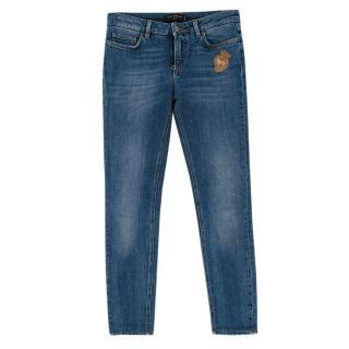 Dolce & Gabbana Blue Denim Slim-fit Embroidered Jeans