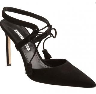 Manolo Blahnik Black Suede Didda Lace-Up Sandals
