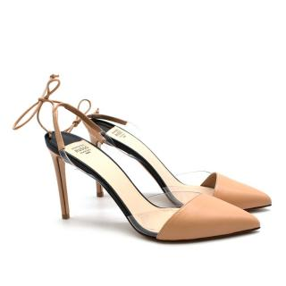 Francesco Russo Nude Leather Tie Slingback Pumps