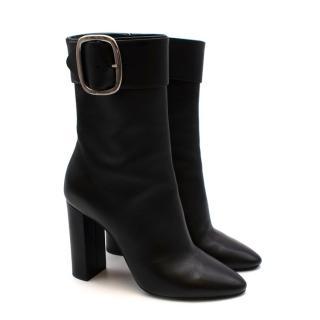 Saint Laurent Black Leather Buckle Heeled Joplin Boots