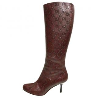 Gucci Chocolate GG leather Boots
