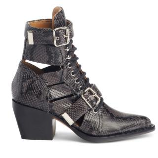 Chloe Black/Grey Python Print Cut-Out Ankle Boots