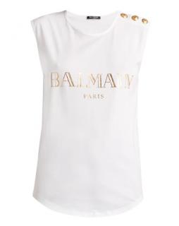 BALMAIN Logo-print cotton tank top