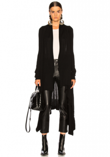 Rick Owens Black Sisyphus Collection Long Wrap Cardigan