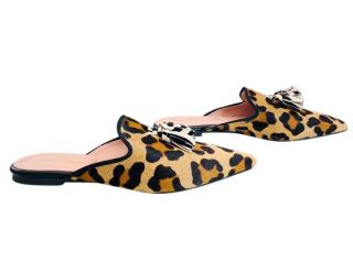 Pretty Ballerinas Leopard Calf Hair Tassel Slippers