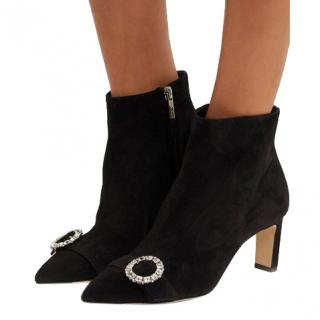 Jimmy Choo Black Hanover 65 crystal-embellished suede ankle boots