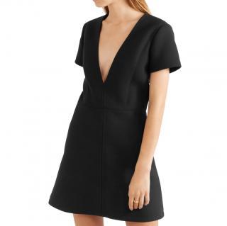 Chloe Black Wool Crepe V-Neck Mini Dress