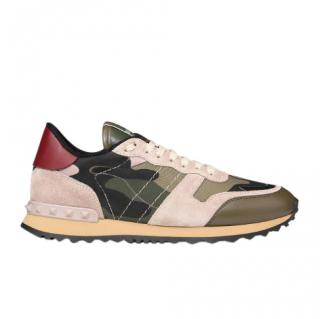 Valentino Green/Pink Camo Rockstud Sneakers