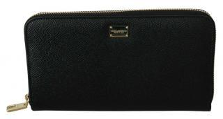 Dolce & Gabbana Black Saffiano Leather Zip-Around Wallet