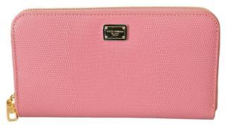 Dolce & Gabbana Pink Lizard Embossed Zip-Around Waller