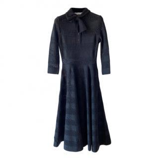 Dior Black Openwork Knit Skater Dress