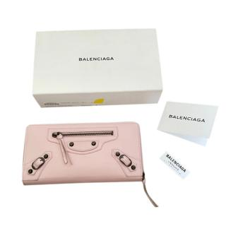 Balenciaga Pink Grained Leather City Wallet