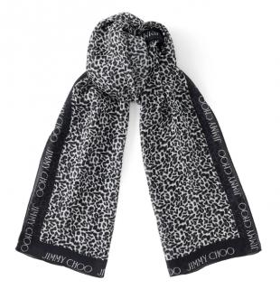 Jimmy Choo Black Silk Stole with Leopard Print