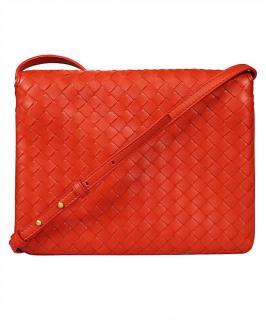 Bottega Veneta Red Intrecciato leather Messenger Bag