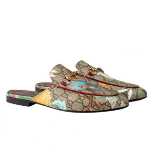Gucci Tian Print Princetown Slippers