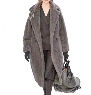 Max Mara Grey Wool & Silk Teddy Coat