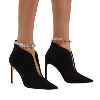 Sophia Webster Black Suede Embellished Plexi Strap Dina Ankle Boots