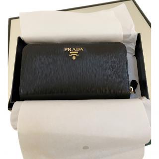 Prada Black Leather Zip-Around Wallet