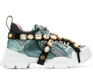 Gucci Blue Crystal Flashtrek Sneakers