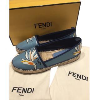Fendi Blue Floral Leather Espadrilles