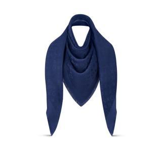 Louis Vuitton Navy Silk & Wool Blend Monogram Shawl