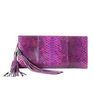 Gucci Purple Python Nouveau Tassel Clutch