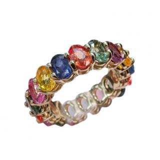 Bespoke Multicoloured Sapphire 14kt Yellow Gold Ring