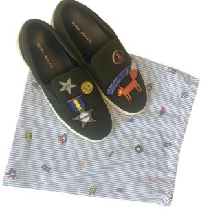 Mira Mikati Khaki Patches Slip-On Sneakers