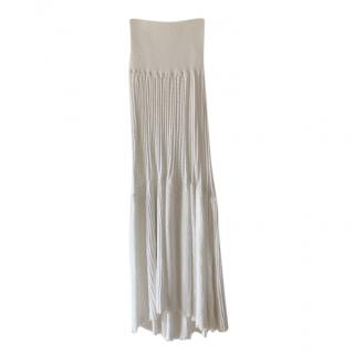 Sonia Rykiel White Knit Pleated Skirt
