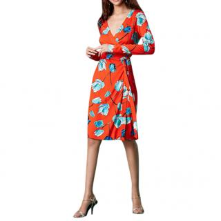 DVF Orange Julian Banded Silk Jersey Wrap Dress