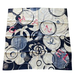 Chanel Blue Silk Printed Stole 34in x 34in
