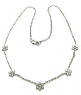 Bespoke 18ct White Gold Diamond Flower Necklace