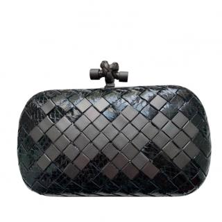 Black Python & Metal Knot Clutch