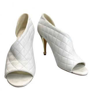Chanel Grey Quilted Leather D'Orsay Pumps