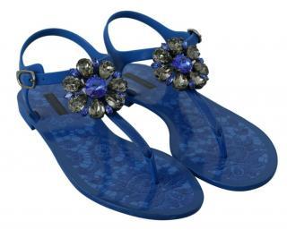 Dolce & Gabbana Blue Crystal Thong Sandals
