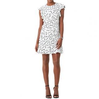 DVF White Abstract Print Krona Ruffled Crepe Dress