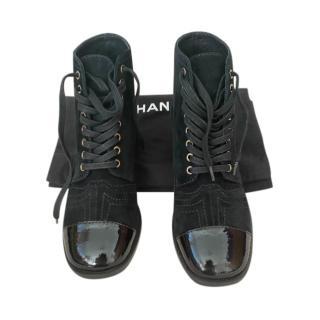 Chanel Black Suede Patent Cap-Toe Lace-Up Boots