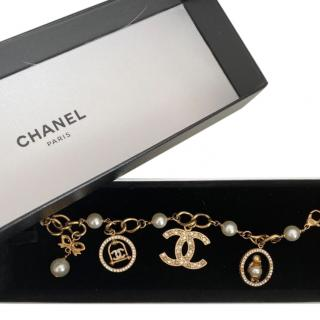 Chanel Gold Tone Faux Pearl & Crystal Charm Bracelet